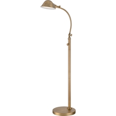 Quoizel Thompson Aged Brass LED Swing Arm Lamp with Bowl / Dome Shade