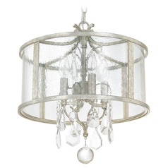 Capital Lighting Blakely Antique Silver Pendant Light with Drum Shade