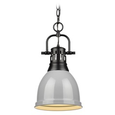 Golden Lighting Duncan Black Mini-Pendant Light with Grey Shade