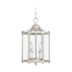 Mini-Pendant Light with Clear Glass in Brushed Nickel Finish