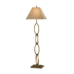 Floor Lamp with Beige / Cream Shade in Gold Leaf Finish