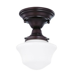 6-Inch Schoolhouse Semi-Flushmount Ceiling Light in Bronze Finish