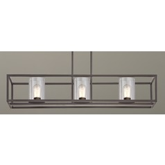 Industrial 3-Light Linear Chandelier with Clear Glass in Bronze