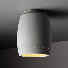 Close To Ceiling Light with White Shade in Bisque Finish