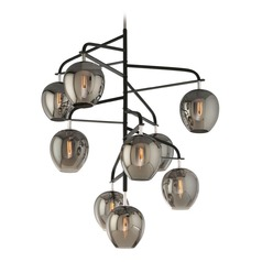 Mid-Century Modern Chandelier Black and Polished Nickel Odyssey by Troy Lighting