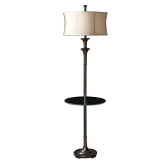 Gallery Tray Lamp with Beige / Cream Shade in Oil Rubbed Bronze Finish