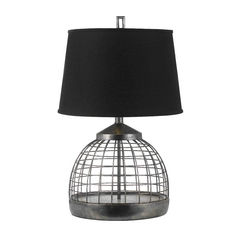 Table Lamp with Black Shade in Antique Pewter Finish