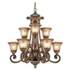 Nine-Light Two-Tier Chandelier with Decorative Scrolls