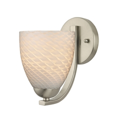 Contemporary Sconce with White Art Glass in Satin Nickel Finish