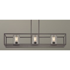 Industrial Linear Chandelier with Seeded Glass Bronze 3 Lt