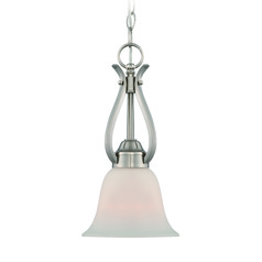 Jeremiah Mckinney Brushed Polished Nickel Mini-Pendant Light with Bell Shade