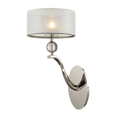Modern Sconce Wall Light with Silver Shade in Polished Nickel Finish