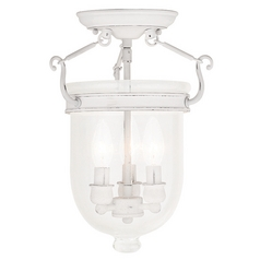 Livex Lighting Jefferson Antique White Semi-Flushmount Light