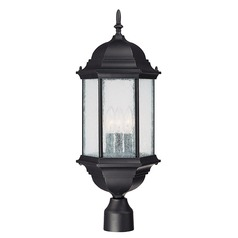 Seeded Glass Post Light Black Capital Lighting