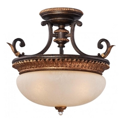 Semi-Flushmount Ceiling Light in Bronze with Gold Leaf Finish