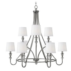 Hinkley Morgan 2-Tier 9-Light Chandelier in Antique Nickel