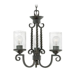 Traditional Seeded Glass Black Mini-Chandelier by Hinkley Lighting