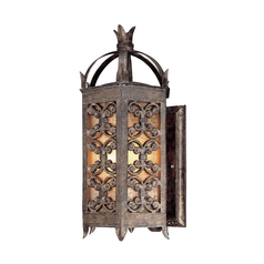 Outdoor Wall Light with Amber Glass in Charred Gold Finish