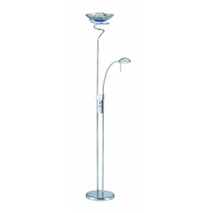Lite Source Lighting Modern Torchiere Lamp with Blue Glass in Chrome Finish LSF-8599C/BLU