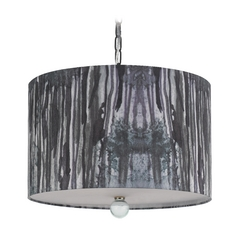 Drum Swag Lamp with Black Shade in Printed Finish