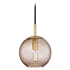 Hudson Valley Lighting Rousseau Aged Brass Mini-Pendant Light with Globe Shade