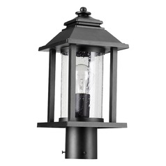 Seeded Glass Post Light Black Quorum Lighting