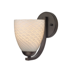 Bronze Wall Light with White Art Glass