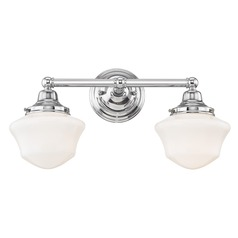 Schoolhouse Bathroom Light Chrome White Opal Glass 2 Light 17 Inch Length
