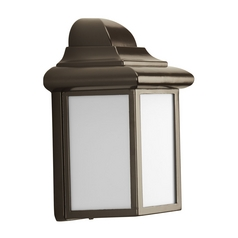 Progress Outdoor Wall Light with White in Antique Bronze Finish