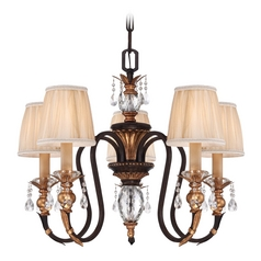 Bronze Crystal Chandelier with Pleated Shades