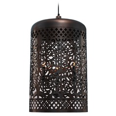Kenroy Home Lighting Creole Antique Copper Pendant Light with Cylindrical Shade