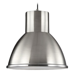 Sea Gull Lighting Division Street Brushed Nickel Pendant Light with Bowl / Dome Shade