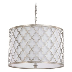 Capital Lighting Ellis Antique Silver Pendant Light with Drum Shade