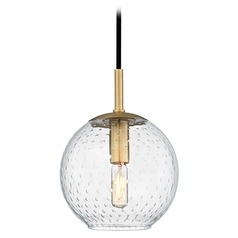Mid-Century Modern Mini-Pendant Light Brass Rousseau by Hudson Valley Lighting