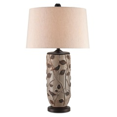 Currey and Company Woodcliffe Gray/brown/distressed Brown Table Lamp with Empire Shade