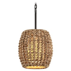 Troy Lighting Conga Tidepool Bronze Pendant Light with Oblong Shade
