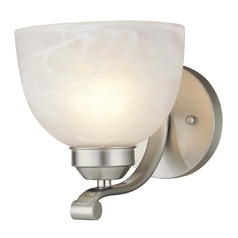Sconce in Brushed Nickel Finish - Etched Marble Glass