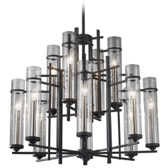 Feiss Modern 12-Light Chandelier with Clear Glass in Antique Forged Iron / Aged Walnut