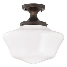 Design Classics Lighting 14-Inch Wide Schoolhouse Ceiling Light in Bronze Finish FES-220/ GA14