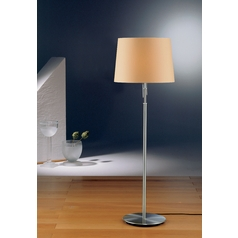 Holtkoetter Modern Floor Lamp with Beige / Cream Shades in Satin Nickel Finish