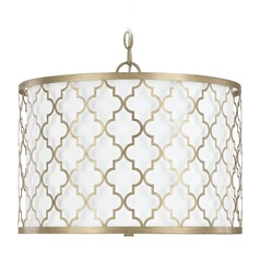 Capital Lighting Ellis Brushed Gold Pendant Light with Drum Shade