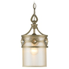Golden Lighting Coronada White Gold Mini-Pendant Light with Cylindrical Shade