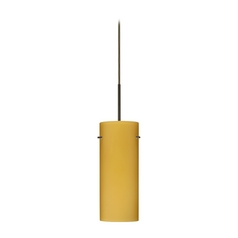 Modern Pendant Light Beige / Cream Glass Bronze by Besa Lighting