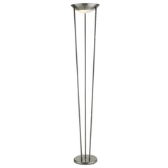 Modern Torchiere Lamp with White Glass in Satin Steel Finish
