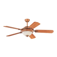 Ceiling Fan with Light with White Glass in Regal Bronze Finish