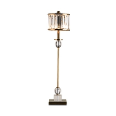 Table Lamp with White Glass in Crystal/antique Brass Finish