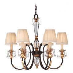 Crystal Chandelier in Bronze Finish with Pleated Shades