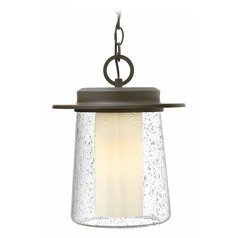 Seeded Glass Outdoor Hanging Light Oil Rubbed Bronze Hinkley Lighting