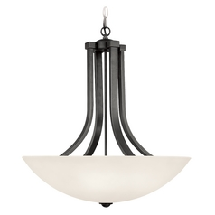 Pendant Light with White Glass in Warm Bronze Finish