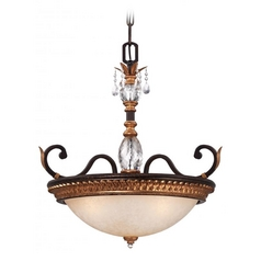 Pendant Light in French Bronze with Gold Leaf Finish